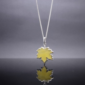 Amber maple leaf necklace