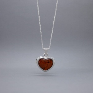 Amber Heart Locket Necklace